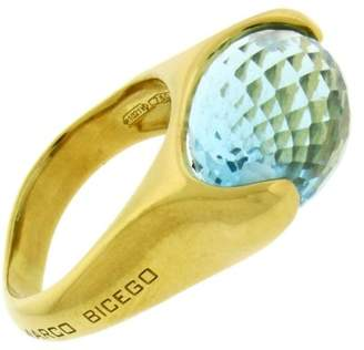 Marco Bicego 18K Yellow Gold Blue Topaz Ring Size 6
