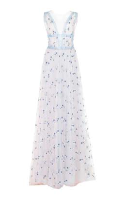 Costarellos Fairy Long Illusion V-Neck Dress