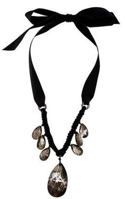 Lanvin Glass Crystal & Ribbon Collar Necklace