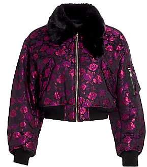 Noir Kei Ninomiya Women's Faux Fur-Trimmed Floral Bomber Jacket