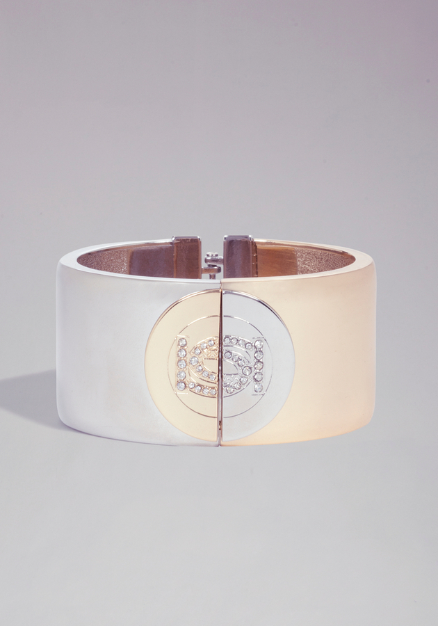 Bebe Logo Two Tone Bracelet