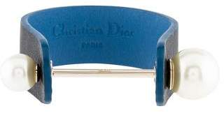 Christian Dior Faux Pearl & Leather Bracelet