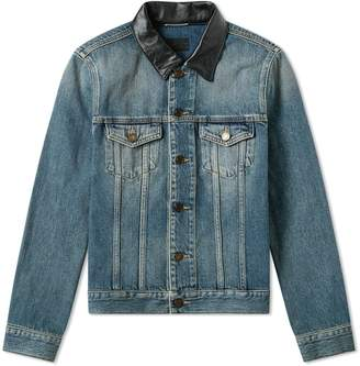 Saint Laurent Leather Collar Denim Jacket
