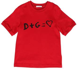 Dolce & Gabbana D+g = Love Printed Cotton Jersey T-Shirt