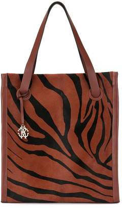 Roberto Cavalli zebra stripe shopper tote bag