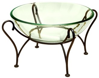clear DecMode Decmode Traditional 9 X 20 Inch Glass Round Bowl With Black Metal Scroll Stand,