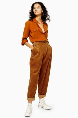 Topshop Womens Casual Corduroy Peg Trousers - Tobacco