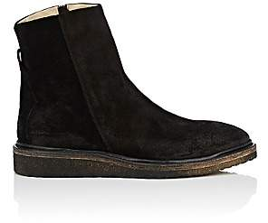 Barneys New York Men's Crepe-Sole Oiled Suede Boots - Black