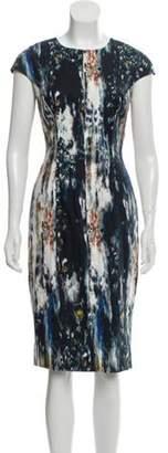 Lela Rose Abstract Print Sheath Dress Turquoise Abstract Print Sheath Dress