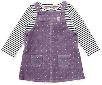 John Lewis & Partners Baby Spot Cord Dress and Top Set, Purple