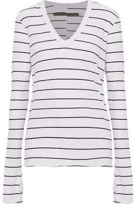 Enza Costa Striped Mélange Cotton And Cashmere-Blend Top