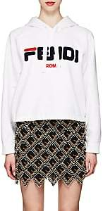 "Fendi Women's Mania"" Fleece Crop Hoodie - White"