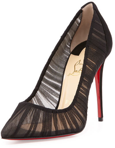 Christian Louboutin  Christian Louboutin Follie Draperia Chiffon Red Sole Pump, Black