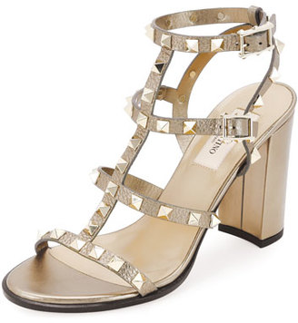Valentino Rockstud Leather 90mm City Sandal, Skin $1,075 thestylecure.com