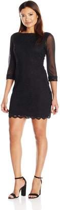 Tiana B Women's Petite 3/4 Chiffon Sleeve Dress with Scalloped Lace Hem