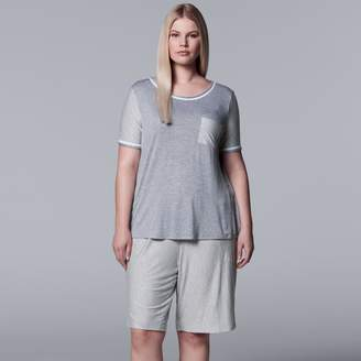 Vera Wang Plus Size Simply Vera Tee & Bermuda Shorts Pajama Set