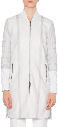 Callens Leather Combo Long Bomber Jacket, Sand $1,016 thestylecure.com