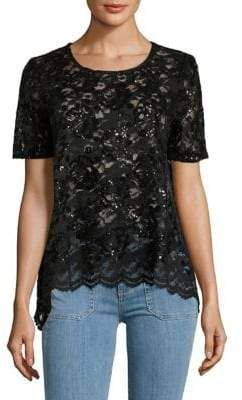 Karen Kane Flare Sequin Lace Top