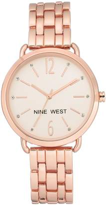 Nine West Women's Rosetone Crystal Bracelet Watch