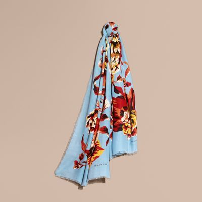 Burberry Peony Rose Print Modal and Cashmere Scarf