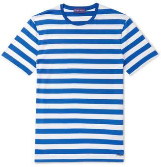 Ralph Lauren Purple Label Logo-embroidered Striped Pima Cotton-jersey T-shirt - Blue