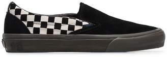 Vans black Vault Slip On checkerboard suede sneakers