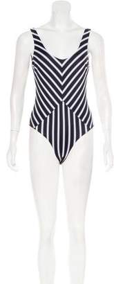 Tori Praver Striped One-Piece Swimsuit w/ Tags