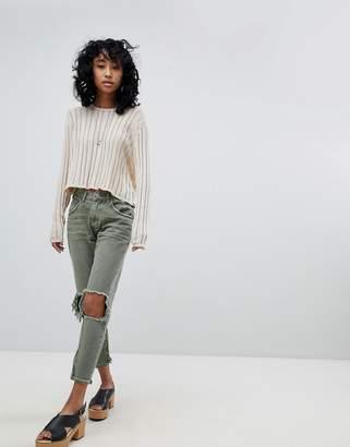 One Teaspoon Freebirds Highwaisted Skinny Jean with Exposed Knees and Raw Hem
