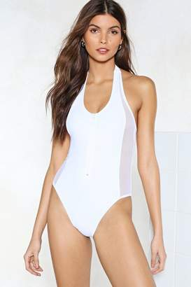 Nasty Gal Don't Mesh With Me Halter Swimsuit