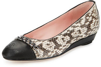 Taryn Rose Paola Snake-Embossed Leather Ballerina, Natural/Black $249 thestylecure.com