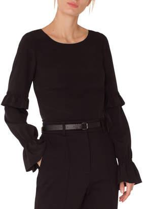Akris Punto Round-Neck Ruffled-Sleeve Silk Blouse