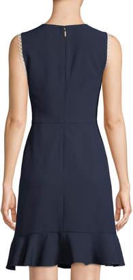 Karl Lagerfeld Paris Sleeveless Circle-Trim Crepe Flounce Dress