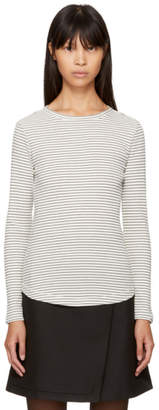 YMC Ecru and Navy Long Sleeve Striped Charlotte T-Shirt