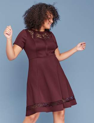 Lane Bryant Scuba Fit & Flare Dress with Lace