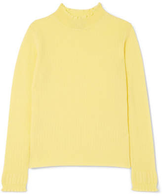 Marc Jacobs Ruffled Ribbed Wool Turtleneck Sweater - Yellow