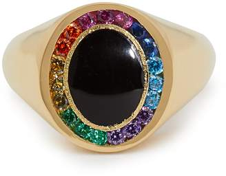 JESSICA BIALES Rainbow Candy 18kt gold & sapphire signet ring