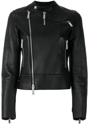 DSQUARED2 band collar leather jacket