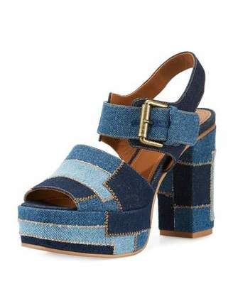 See by Chloe Tara Patchwork Denim Platform Sandal, Navy/Light Blue $315 thestylecure.com