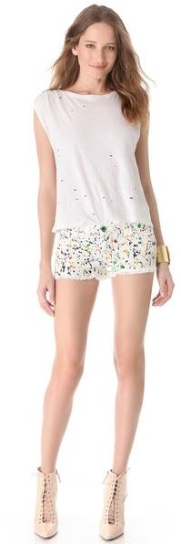 Alice + Olivia Splatter Cutoff Shorts