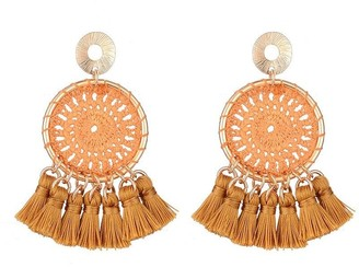 Jon Richard Jewellery Mustard Tassel Pendant Earrings