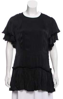 Marni Ruffle-Accented Satin Top