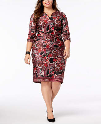 ECI Plus Size Printed 3/4-Sleeve Dress