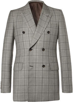 Alexander McQueen Slim-Fit Double-Breasted Prince of Wales Checked Wool and Mohair-Blend Suit Jacket