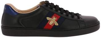 Gucci Sneakers New Ace Sneakers In Soft Genuine Leather With Web Bands And Bee Embroidery