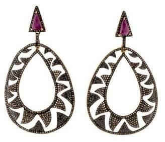 Meghna Jewels Ruby & Diamond Drop Earrings gold Meghna Jewels Ruby & Diamond Drop Earrings