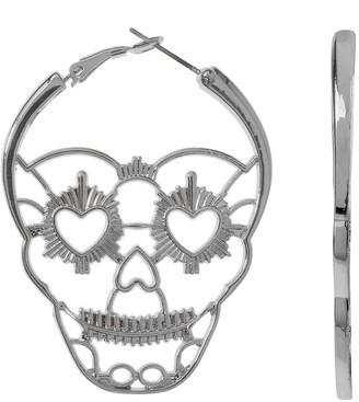 Unbranded Candy Skull Nickel Free Hoop Earrings