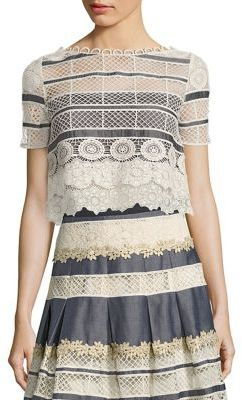 Elie Tahari Mary Chambray & Lace Cropped Top $298 thestylecure.com