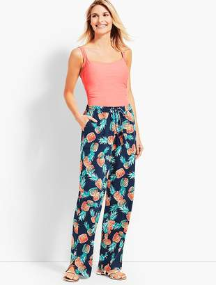 Talbots Crinkle-Cotton Pineapple Party Beach Pant