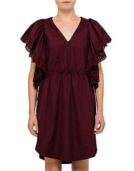 See by Chlo Poplin V Neck Frill Short Sleeve Dress