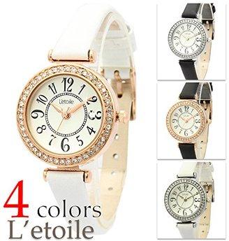 L'etoile レトワール FV09 ラインストーンがきらびやかなシンプルウォッチ レザーベルト レディース 腕時計 【保証書付】